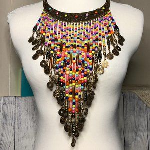 BOHO Tribal Bib Necklace Multi-color Dangle Beads